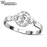 Diamonesk Women's Solid Sterling Silver Ring: Love Comes Full Circle