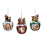 Dona Gelsinger's Santa Sleigh Bells Ornaments Set One: Set Of Three
