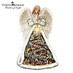 Thomas Kinkade Christmas Story Angel With Nativity Village Figurine