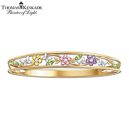 Thomas Kinkade Alzheimer's Research Support Bracelet: Memories Of Beauty Floral