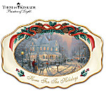 Thomas Kinkade Heirloom Porcelain Christmas Serving Platter: Home For The Holidays