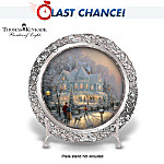 Thomas Kinkade Heirloom Porcelain And Genuine Pewter Holiday Plate: A Holiday Gathering