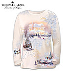 Thomas Kinkade Artistic Design Long Sleeved Shirt