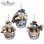 Thomas Kinkade Snow-Bell Holidays Snowman Ornaments