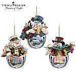 Thomas Kinkade Snow-Bell Holidays Snowman Ornaments: Set Of Three