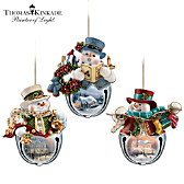Thomas Kinkade Snow-Bell Ornaments: Set Of Three