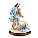 Jesus Christ Inspirational Candleholder: Footprints In The Sand