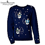 Thomas Kinkade's Wonders Of Winter Snowman Sweater