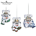 Thomas Kinkade Top Of The Season Snowman Ornament Collection Set One