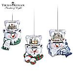 Thomas Kinkade Top Of The Season Snowman Ornament Collection Set One: Set Of 3