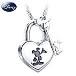 Disney Unlock The Magic Mickey Mouse Heart-Shaped Lock And Key Pendant Necklace