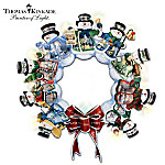 Thomas Kinkade Illuminated Musical Snowman Wreath: Let It Snow