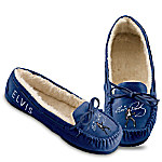 Elvis Presley Genuine Suede Women's Moccasins Blue Suede Shoes