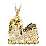 Shih Tzu Pendant Necklace with Swarovski Crystals