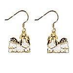 Shih Tzu Earrings with Swarovski Crystals