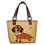 Dachshund Applique Leather-Trimmed Canvas Tote Bag