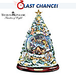 Thomas Kinkade Silent Night Nativity Tabletop Christmas Tree With Swirling Snow