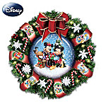 """Disney Mickey, Minnie And Pluto """"Let It Snow"""" Snow Dome Musical Wreath: Lights Up!"""