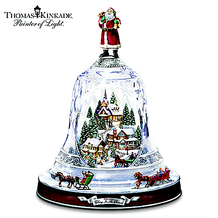 Thomas Kinkade's Ring In The Season Crystal Bell Table Centerpiece