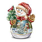 Dona Gelsinger Musical Heirloom Porcelain Snowman Cookie Jar: Oh 'Sno Sweet