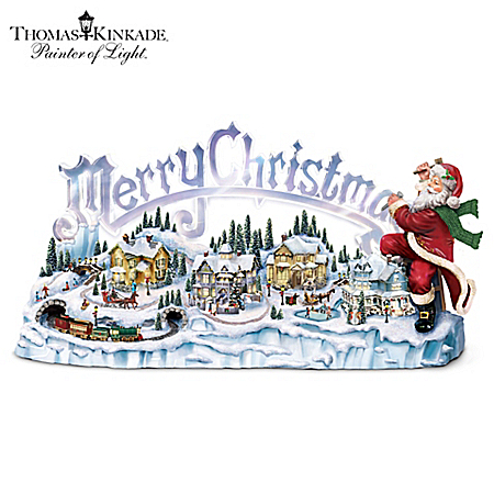 Thomas Kinkade Musical Illuminated Miniature Village Figurine: Santa's Inspiration