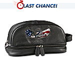 Patriotic American Motorcycle-Themed Leather Travel Bag: Ride Hard, Live Free