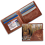 "Nothing stops people in their tracks like a strong and powerful deer dashing by in the wild. Now you can celebrate this breathtaking creature with this striking deer art leather wallet, a custom design exclusively from The Bradford Exchange. This exquisite hand-tooled wallet is handcrafted in rich brown leather and ruggedly-designed. The front showcases a full-color recreation of an award-winning original deer portrait by Greg Alexander and a beautifully embossed deer bust. Embossed on the inside are the words, ""The Buck Stops Here"" along with ample pockets for cash and credit cards. Plus, a clear pocket window offers easy access to your identification. Show your fondness for the great outdoors, or it makes a thrilling gift for a deer hunter. High demand is expected and you won't want to miss out. Order now!"