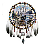 Native American Inspired Genuine Leather Dreamcatcher With Wolf Art: Spirits Of The Forest