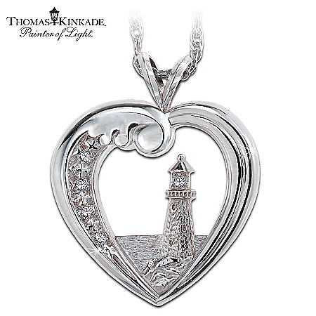 Thomas Kinkade Beacon Of Hope Lighthouse Pendant Necklace