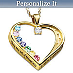 Footprints In The Sand Personalized Swarovski® Crystal Birthstone Pendant Necklace