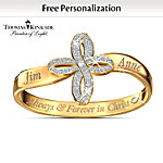 Thomas Kinkade Personalized Religious Couples Ring: Always & Forever In Christ