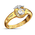 Semper Fidelis Personalized Diamond Woman's Ring: USMC Couples Jewelry Gift For Her