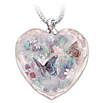 Lena Liu Breast Cancer Support Crystal Pendant : Butterflies Of Hope