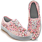 Lena Liu Plates Lena Liu Breast Cancer Support Canvas Art Women's Sneakers: Steps Toward A Cure