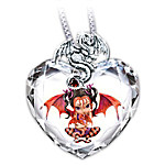 Ruby Fairy Crystal Heart Pendant Necklace