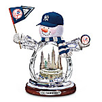 MLB New York Yankees Crystal Snowman Figurine: Go Yankees!