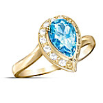 Pear-Shaped Blue Topaz Journey Ring: I Am With You Always