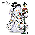 Thomas Kinkade Midwinter Magic Sculpture: Snowman With Illuminated Village Buildings