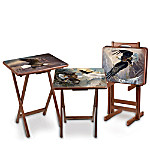 Bald Eagle Art Wooden Tray Table Set: Ted Blaylock Canyon Masters