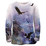On The Wings Of Eagles Artistic Womens Long-Sleeved Shirt