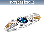 Sapphire And Diamond Embrace Personalized Women's Ring