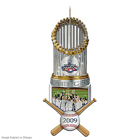 The 2009 MLB World Series Champions New York Yankees Trophy Christmas Ornament