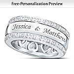 Personalized Name-Engraved Solid Sterling Silver Diamond Ring: Our Forever Love