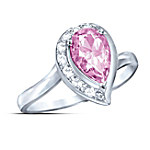 Pear-Shaped Topaz Journey Ring: Lovely In Pink