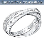 Name-Engraved Sterling Silver Diamond Infinity Ring: Today, Tomorrow, And Always