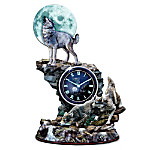 The Hour Of Twilight Wolf Tabletop Clock With Glow-in-the-dark Feature Picture