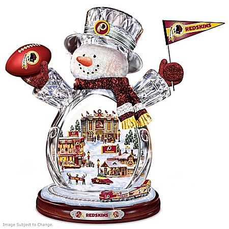 Washington Redskins Masterpiece Edition Crystal Snowman Figurine