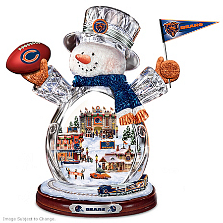 Chicago Bears Masterpiece Edition Crystal Snowman Figurine