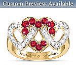 Love's Embrace Diamond & Ruby Personalized Ring