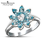 Thomas Kinkade Snowflake Splendor Blue Topaz And Diamond Ring